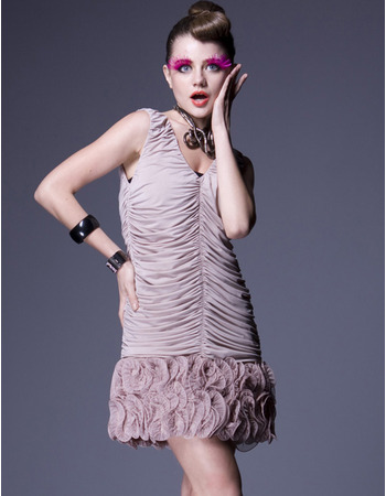Pleated Short Silk Sheath Party Dresses