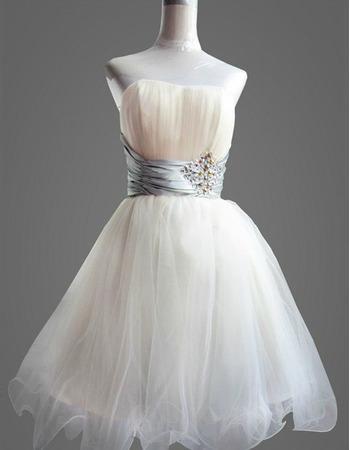 Designer A-Line Short Holiday Dresses, Affordable Strapless Organza Homecoming Dresses - US$ 89.95 | eBuyWedding.com