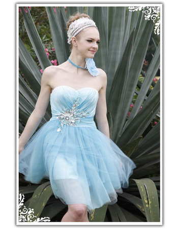 Blue Sweetheart Short Cocktail Dresses, Sheath Applique Organza Party Dresses - US$ 129.95 | eBuyWedding.com