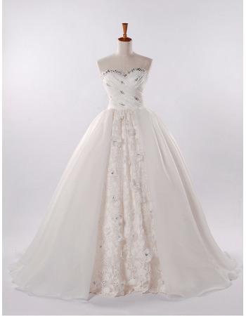 Affordable Full Length A-Line Wedding Dresses/ Elegant Sweetheart Church Bridal Gowns