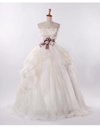 Elegant Strapless A-Line Wedding Dresses/ Fall Long Church Bridal Gowns
