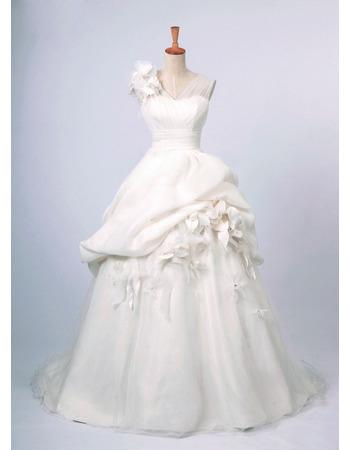 Fall V-Neck A-Line Wedding Dresses/ Affordable Long Church Bridal Gowns