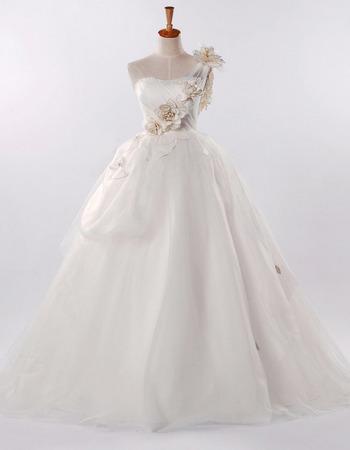 Discount One Shoulder A-Line Wedding Dresses/ Elegant Long Church Bridal Gowns