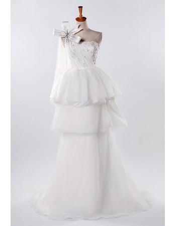 Discount One Shoulder A-Line Wedding Dresses/ Elegant Floor Length Church Bridal Gowns
