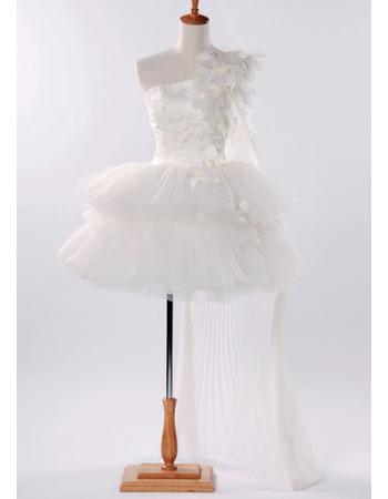 Affordable Ball Gown One Shoulder Short Mini Wedding Dresses