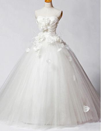 Fall Floral A-Line Wedding Dresses/ Affordable Organza Floor Length Church Bridal Gowns