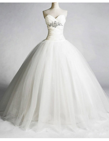 Discount Sweetheart A-Line Wedding Dresses/ Elegant Organza Floor Length Church Bridal Gowns