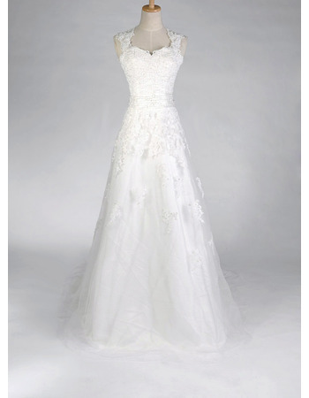 Fall A-Line Stylish Wedding Dresses/ Affordable Floor Length Backless Bridal Gowns