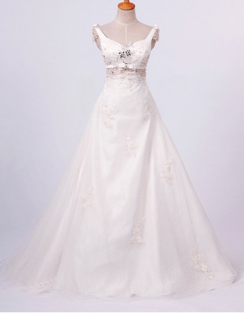 Fall Floor Length A-Line Wedding Dresses/ Affordable Satin Church Bridal Gowns