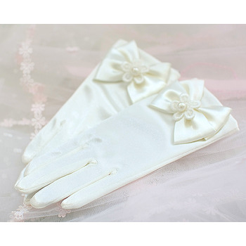 Wrist Elastic Satin Ivory Flower Girl/ First Communion Gloves