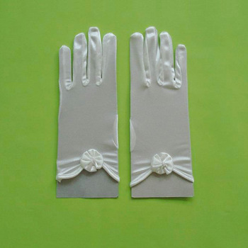 Wrist Elastic Satin White Flower Girl/ First Communion Gloves with Flowers