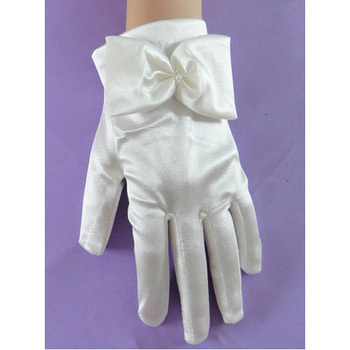 Wrist Elastic Satin White Flower Girl/ First Communion Gloves with Bows