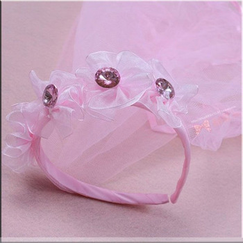 1 Layer Pink Tulle Flower Girl Veils