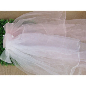 White/ Pink Organza Flower Girl Veils with Bows