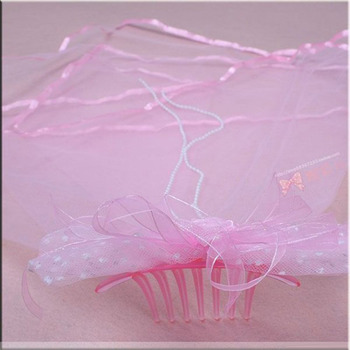 Pink Organza Flower Girl Veils with Bows