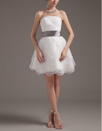 Affordable A-Line Organza Short Beach Wedding Dresses with Sashes