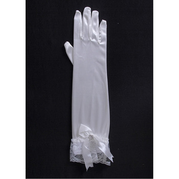 Elbow Jersey White Wedding Gloves with Lace