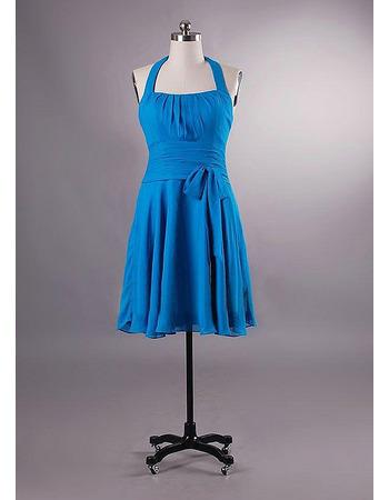 Inexpensive A-Line Knee Length Chiffon Halter Bridesmaid Dresses/ Wedding Party Dresses
