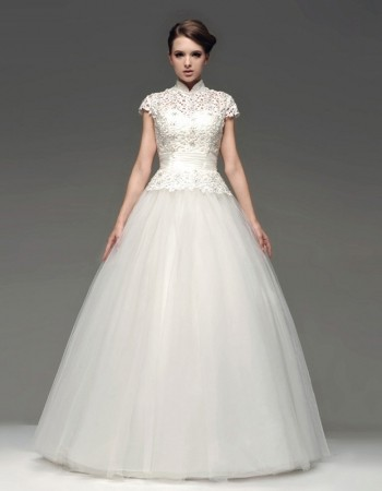 Discount New Style Ball Gown Floor Length Lace Organza Wedding Dresses