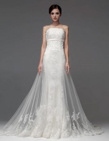 New Style Sexy Sheath Strapless Chapel Train Organza Wedding Dresses