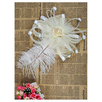 Chic White Organza Fascinators with Feather