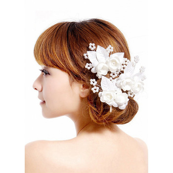 Elegant White Silk Fascinators with Flowers and Beads for Brides
