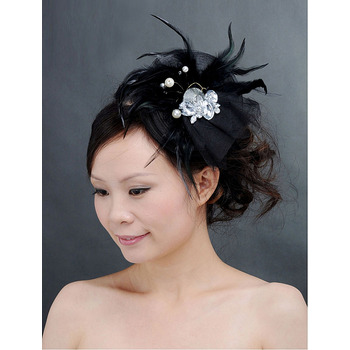 Chic Black Tulle Fascinators with Feather and Beads for Brides