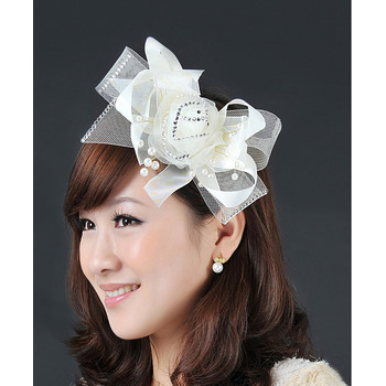 Stunning Ivory Tulle Satin Fascinators with Bows and Beads for Brides