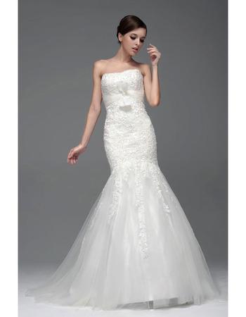 2019 Winter Mermaid/ Trumpet Strapless Chapel Train Wedding Dresses