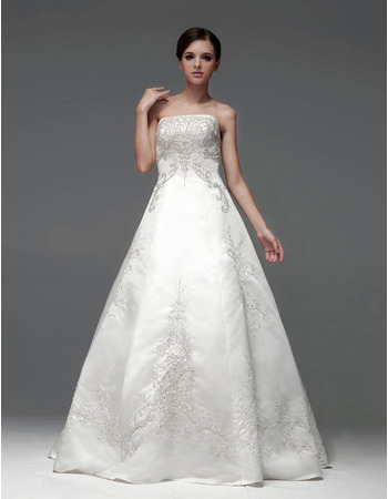 Inexpensive A-Line Strapless Sleeveless Floor Length Wedding Dresses