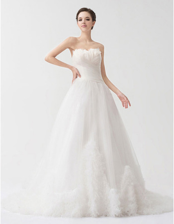 Designer A-Line Sweetheart Court Train Organza Wedding Dresses