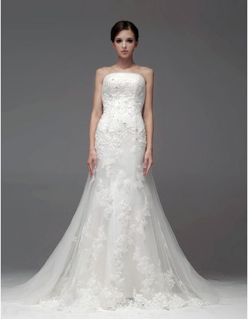 2019 Fall Mermaid/ Trumpet Strapless Chapel Train Organza Wedding Dresses