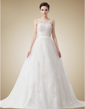 Affordable Vintage A-Line Court Train Organza Wedding Dresses