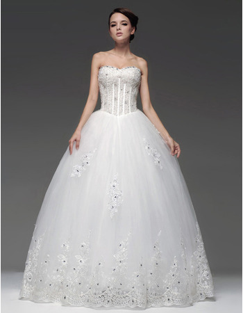2019 Style Ball Gown Sweetheart Floor Length Wedding Dresses for Brides