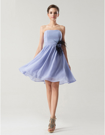 Affordable A-Line Strapless Knee Length Chiffon Bridesmaid Dresses