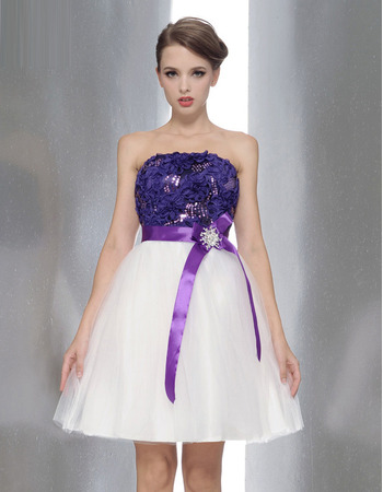 Stylish Sexy A-Line Strapless Short Bridesmaid Dresses with Belts