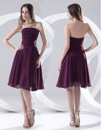 Custom A-Line Strapless Knee Length Chiffon Bridesmaid Dresses
