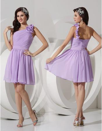 Sexy A-Line One Shoulder Short/ Mini Chiffon Bridesmaid Dresses