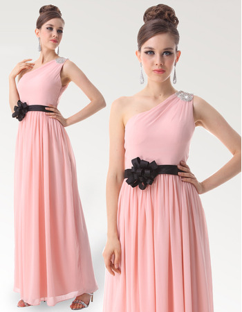 One Shoulder Long Chiffon Bridesmaid Dresses for Spring Wedding
