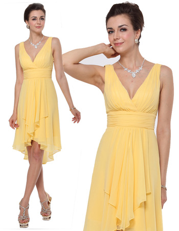 Inexpensive V-Neck Short Chiffon Summer Bridesmaid/ Bridal Party Dress