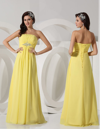 Spring New Style Strapless Long Chiffon Evening/ Prom Dresses