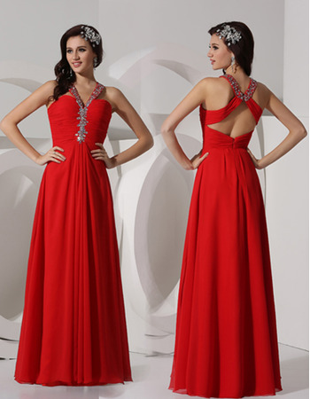 Sheath V-Neck Floor Length Chiffon Evening Dresses for Winter Prom