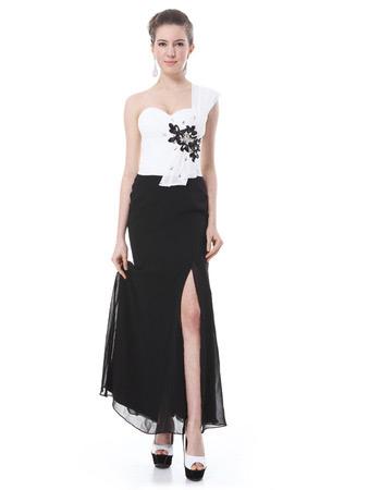 Custom One Shoulder Split White and Black Evening/ Prom Dresses