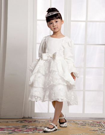 Knee Length Long Sleeves First Communion/ Flower Girl Dresses