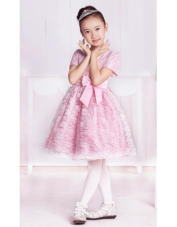 Lace Short Sleeves Knee Length Flower Girl Dresses