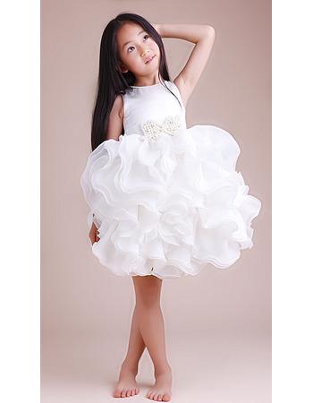 Ball Gown Short Satin Ruffle Flower Girl Dresses