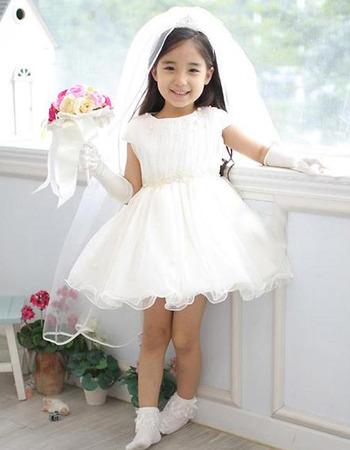 A-Line Cap Sleeves Short Satin Organza Flower Girl Dresses