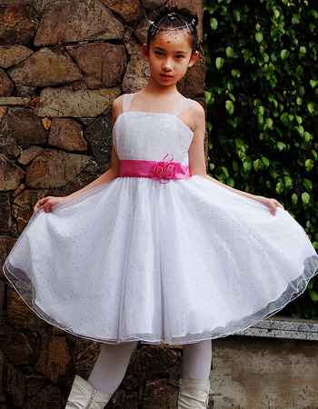 A-Line Straps Knee Length Satin Organza Flower Girl Dresses