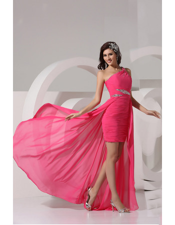 Sheath One Shoulder Short/ Mini Chiffon Dresses for Prom