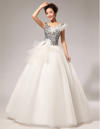 Sexy V-Neck Sequined Ball Gown Floor Length Satin Wedding Dresses